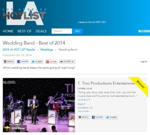 LA HOT LIST - Tino Productions - Best Wedding Band